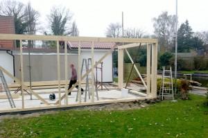 Aufbau eines Hauses in Holzrahmenbauweise 1
