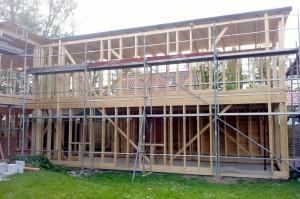 Aufbau eines Hauses in Holzrahmenbauweise 4